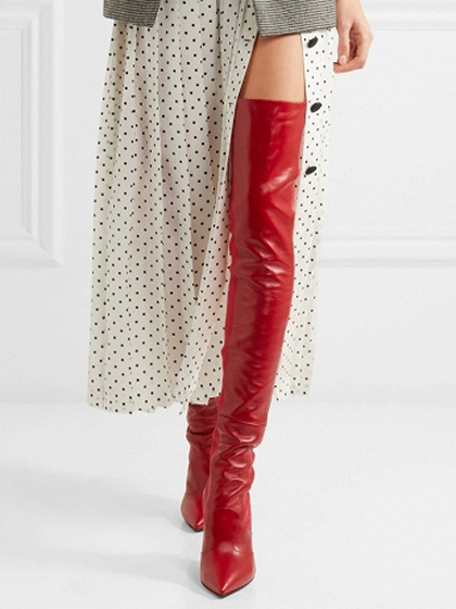 Red Leather Pointed Heeled Over the Knee Boots