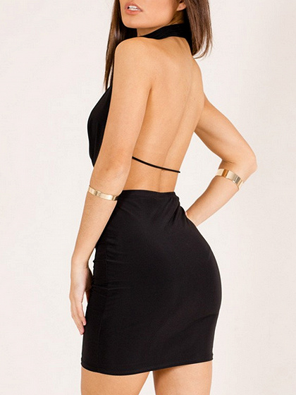 Black Choker Neck Plunge Open Back Bodycon Mini Dress