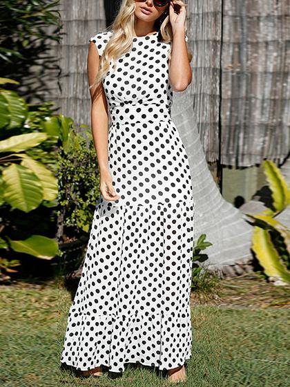 White Polka Dot Tie Waist Maxi Dress