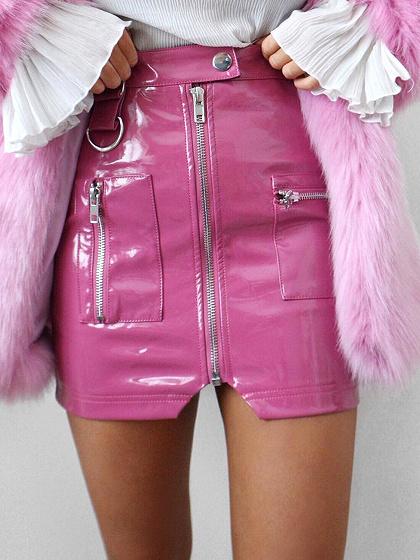 Mini-jupe crayon rose en cuir à taille haute