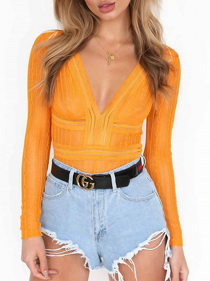 Yellow Plunge Long Sleeve Lace Bodysuit