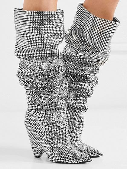 Botas de tacón de aguja con detalles de diamantes de imitación de plata