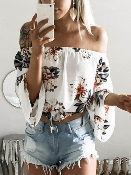 White Off Shoulder Print Detail Long Sleeve Blouse