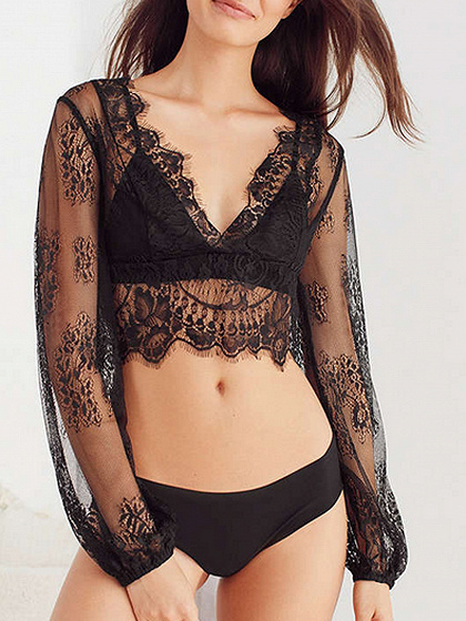 Black V-neck Long Sleeve Sheer Lace Crop Top