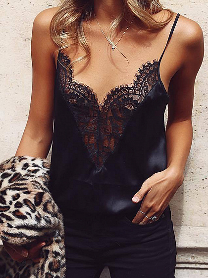 Black V-neck Spaghetti Strap Lace Tank Top