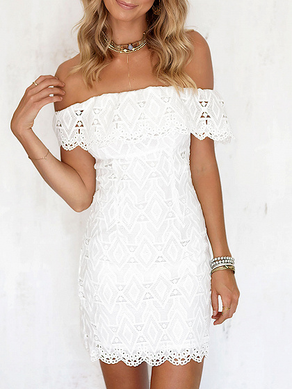 White Off Shoulder Lace Bodycon Mini Dress