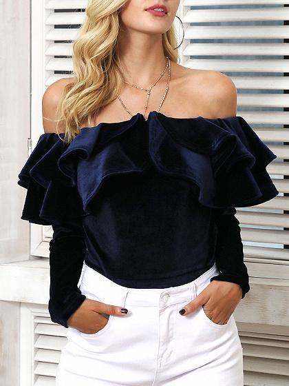 Black Velvet Off Shoulder Ruffle Trim Long Sleeve Blouse