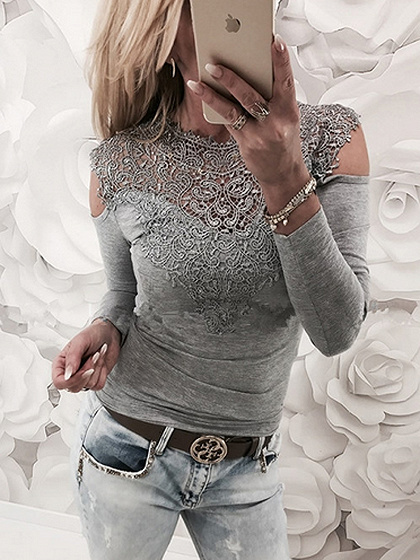 Gray Cold Shoulder Crochet Lace Panel Long Sleeve T-shirt