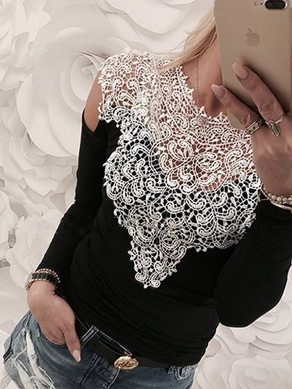 Black Cold Shoulder Crochet Lace Panel Long Sleeve T-shirt