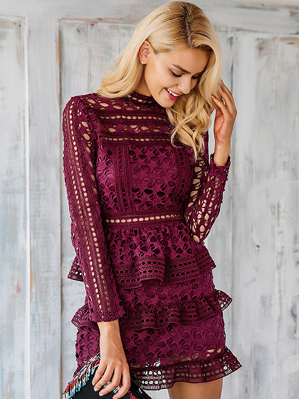 Burgundy High Neck Long Sleeve Layered Cut Out Lace Dress