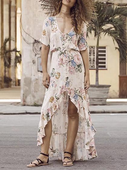 Beige Button Placket Floral Print Ruffle Trim Hi-Lo Dress