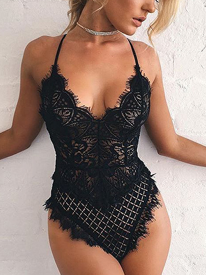 Black Spaghetti Strap Open Back Lace Bodysuit