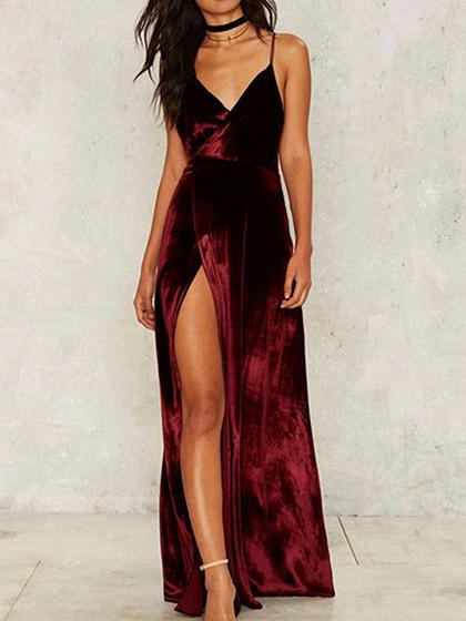 Burgundy Velvet V-neck Open Back Thigh Split Maxi Dress