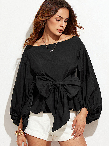 Black Bow Front Long Sleeve Blouse
