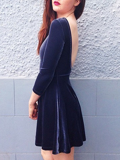 Navy Blue Velvet Open Back Mini Dress