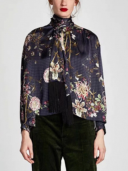 Blue Bow Front Print Detail Long Sleeve Blouse