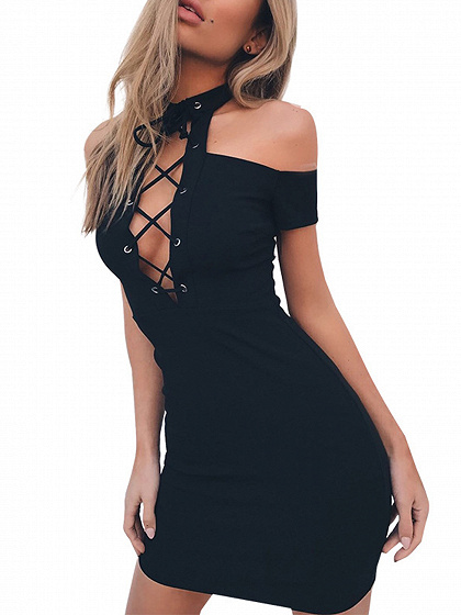 Black Halter Cold Shoulder Lace Up Front Ribbed Knit Dress