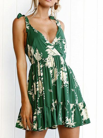 Green Plunge Tie Shoulder Open Back Print Detail Mini Dress