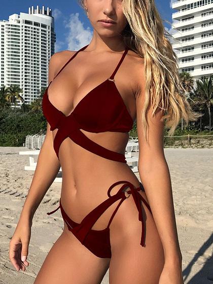 Burgundy Cross Strap Bikini Top And Bottom