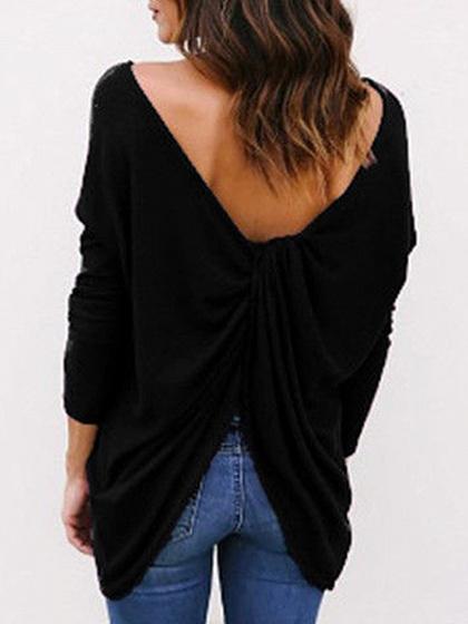 Black Cross Back Long Sleeve T-shirt