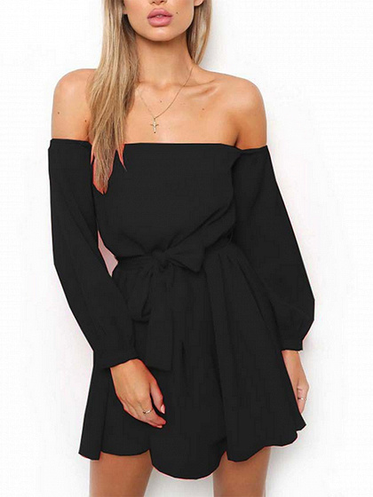 Black Off Shoulder Tie Waist Long Sleeve Mini Dress