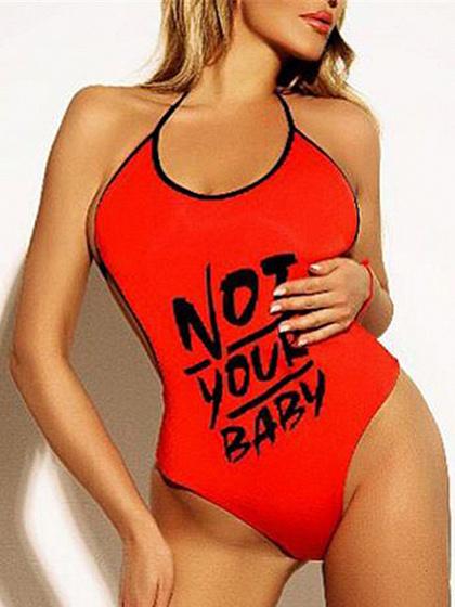 Red Halter Letter Print Open Back Bodysuit