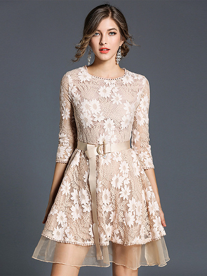 Beige D-ring Belt Mesh Panel Lace Dress