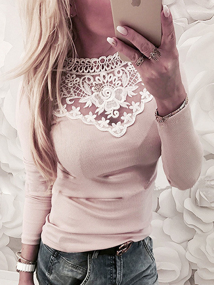 Pink Lace Panel Long Sleeve Blouse