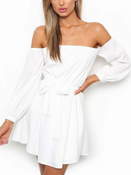 White Off Shoulder Tie Waist Long Sleeve Mini Dress