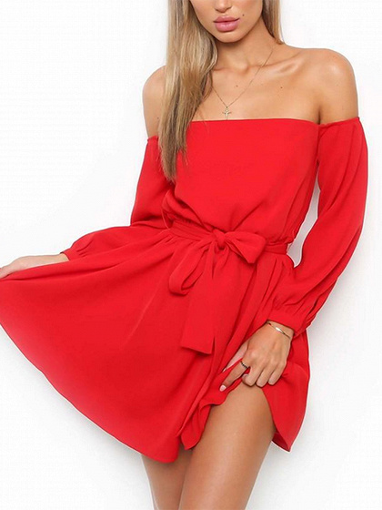 Red Off Shoulder Tie Waist Long Sleeve Mini Dress