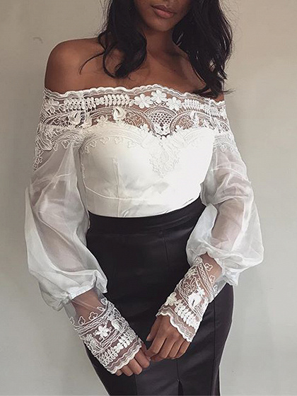 White Off Shoulder Lace Panel Long Sleeve Blouse
