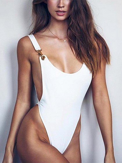 White Metal Circle Embellished Open Back Bodysuit