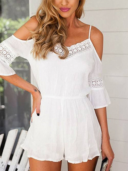 White Cold Shoulder Lace Panel Cami Romper Playsuit