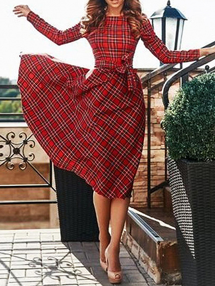 Red Plaid Tie Waist Long Sleeve Skater Dress