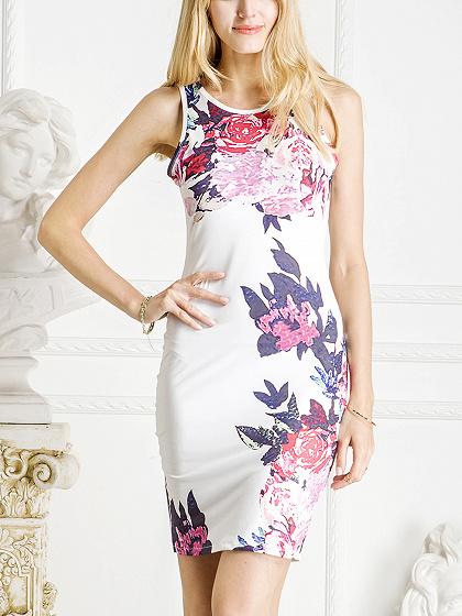 White Floral Print Cut Away Midi Bodycon Dress