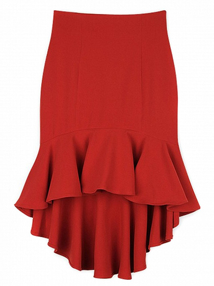 Red High Waist Hi-Lo Skirt