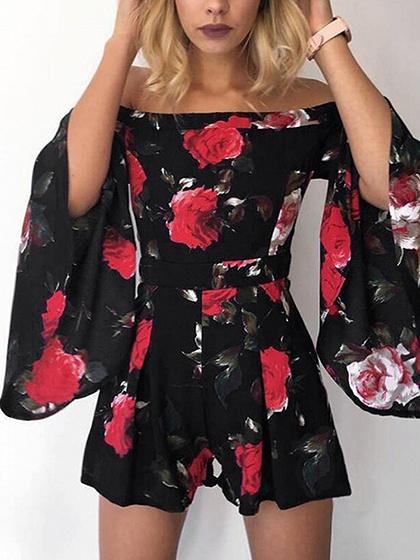 Black Off Shoulder Floral Print Flare Sleeve Romper Playsuit