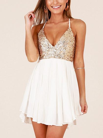 White V-neck Sequin Detail Open Back Mini Dress