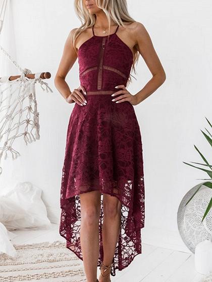 Burgundy Cut Out Detail Lace Hi-Lo Dress