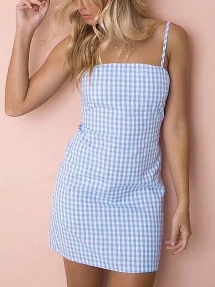 Blue Plaid Spaghetti Strap Bow Tie Back Mini Dress