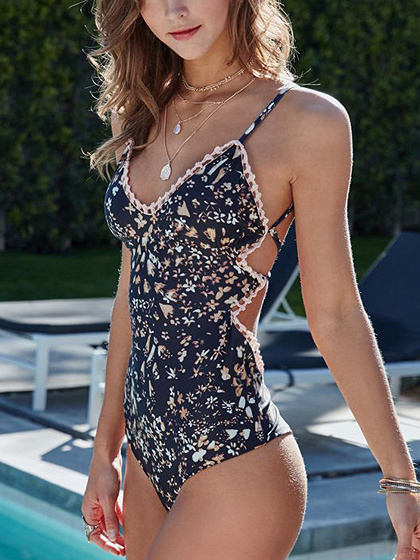 Navy Blue V-neck Strap Back Print Detail Swimsuit