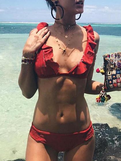 Red Ruffle Trim Bikini Top And Bottom