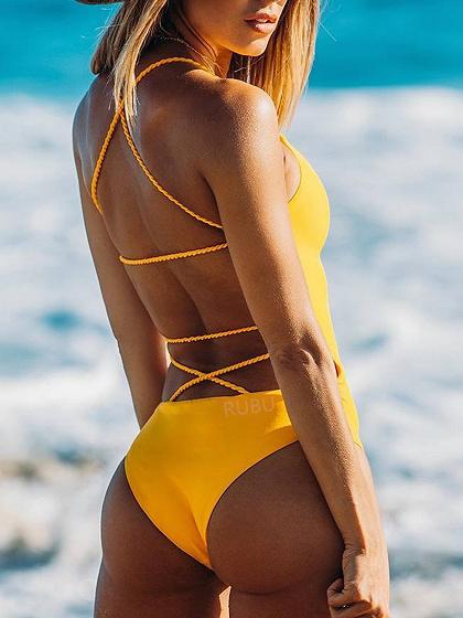 Yellow Cross Strap Open Back Swimsuit