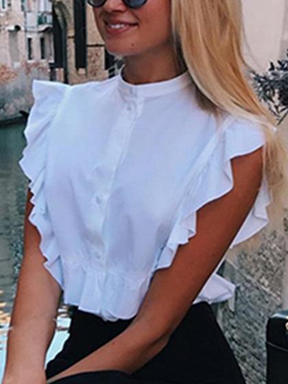 White Stand Collar Ruffle Trim Shirt
