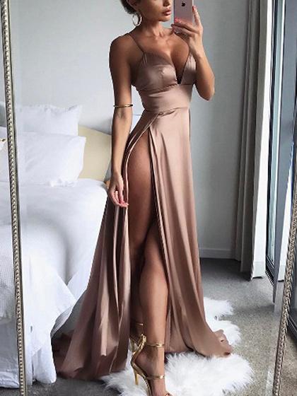 Pink Satin Look Spaghetti Strap Plunge Thigh Split Dress