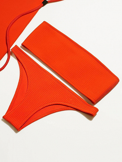 Red Bandeau Ribbed Bikini Top And Bottom