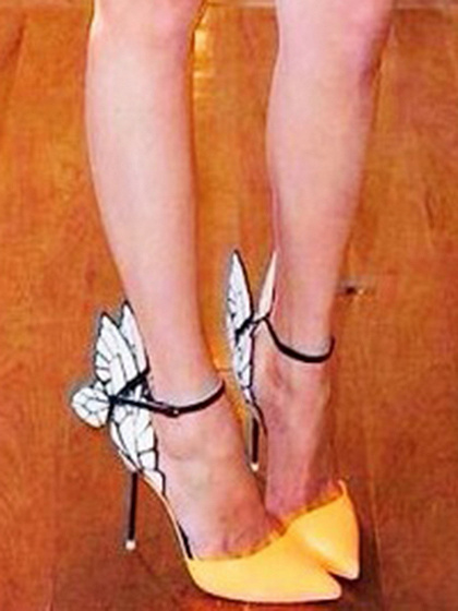Yellow Contrast Butterfly Style Leather Look High Heeled Pumps