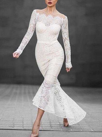White Off Shoulder Long Sleeve Lace Dress