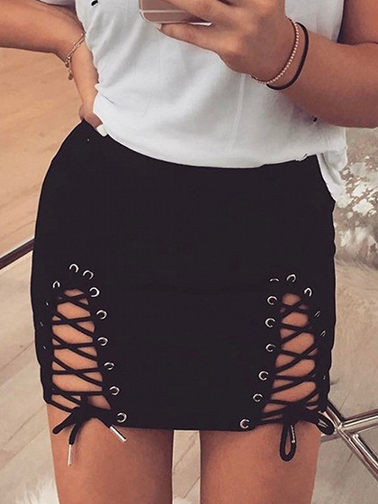 Black Lace Up Side Faux Suede Pencil Mini Skirt