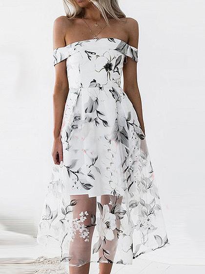 White Off Shoulder Floral Overlay Midi Dress